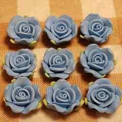 約 2.5 cm ☆ 9 コ ☆ (水色) 樹脂薔薇