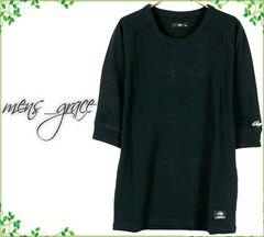 新品 7分袖Tシャツ カットソー ラグラン 無地 黒ブラック S