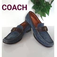 正規 COACH ローファー 革靴 パンプス スエード レザー ネイビー