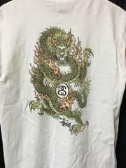 90's USA製 STUSSY ドラゴン Tシャツ M 白 米国製