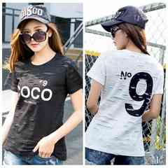 901378大きいサイズ 穴あき風 N9 COCOロゴ大人気 Tシャツ 4L~6L