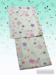 【和の志】洗える着物◇単衣Mサイズ◇白緑系・梅柄◇214