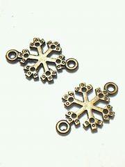 X'mas<チャーム>アンティーククリスマスチャーム・金属(結晶・2個)アンティークゴールド