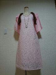 ★新品タグ5L★総レース★フリルワンピ(ピンク)