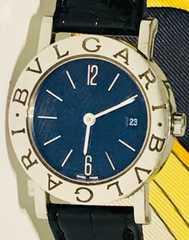 美品ブルガリブルガリレディース時計BB26SL黒革ベルト稼働品箱付