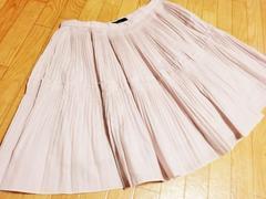 新品 シェロ—/chereaux プリーツ膝丈フレアスカート