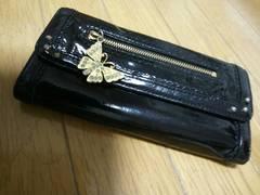 【ANNA SUI】アナスイ 長財布★がま口・ホック★黒 エナメル