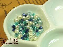 穴なしパール パープル系×ホワイト2〜4ミリMIX レジン 50粒