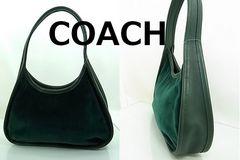 【即買】コーチ レザー×布製 ミニバッグ グリーン 極美★dot