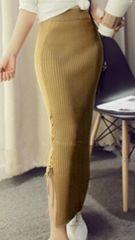 ☆新品☆オシャレ・Aラインロングニット編み上げタイトスカート