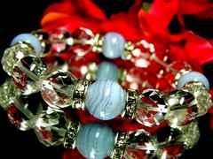 ブルーレースアゲート§ダイヤカット水晶§水晶§10ミリ§銀ロンデル