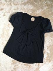未使用レッセパッセ透かし袖リボンカットソー黒ブラック38