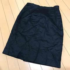 シンプルブラック◆綿麻リネン混◆膝丈タイトスカート◆M