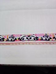 【ピンク】23mm巾 ぱんだ柄リボン1M