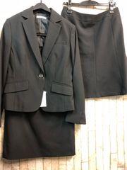 新品☆11号お仕事にも!スカート2種付きスーツ黒無地☆b682