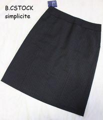 B.C STOCK*simplicite★シャドーストライプ*タイトスカート(38)/新品/通勤に