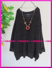 冬新作◆大きいサイズ4Lブラック系MIX編み◆胸元V開きニットチュニック