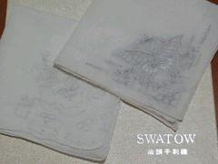 送料無料★汕頭(スワトウ)★刺繍ハンカチ2枚★ローズ柄、蝶々柄
