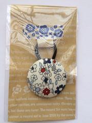 ハンドメイド ヘアゴム 特大 くるみボタン コットン ネイビー 花