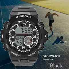 スポーツ腕時計 LED デジタル 腕時計 ミリタリー ブラック