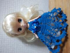プチブライスof青のレース編みドレス