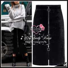 【W84】2L3L*大きいサイズ*フロントダブルZIPスリットタイトスカート*黒