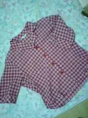 美品赤チェック柄半袖Lサイズ13号