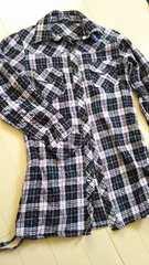 150○チェックロングシャツ○黒系