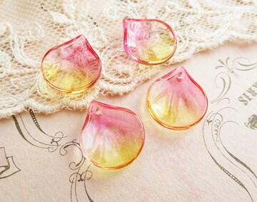 ガラス花びらパーツ4個丸型ピンク×イエロー