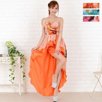 胸元ビジュー&フリル 花柄ロングドレス テールカット  パーティー キャバ チャムドレス