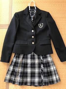卒業式 フォーマルスーツ ジャケット+スカート+ネクタイ 150紺