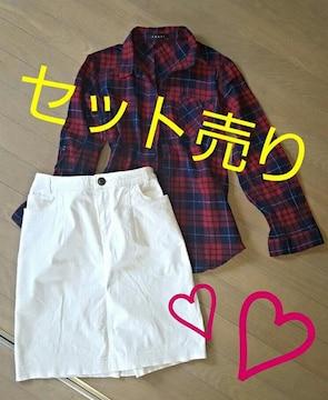 【カジュアルスタイル★2点セット】#白#スカート#チェック#春服