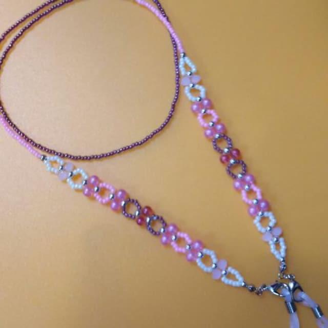 【handmade】グラスコード(PINK系) < ペット/手芸/園芸の