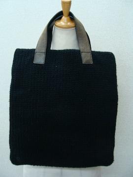 tricot COMME des GARCONS革ハンドルウールニットバッグ