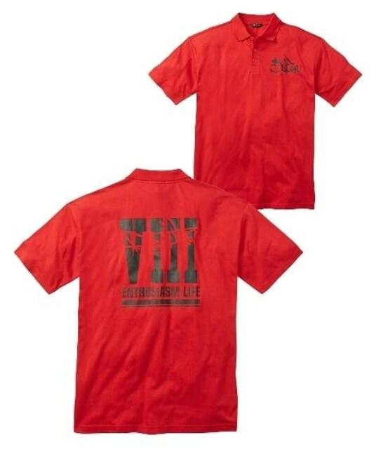 Mサイズ情熱の赤!深み赤!ロゴ入り!半袖ポロシャツ!紳士的!以外にカッコ良い  < 男性ファッションの