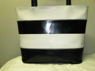 本革 クロ/白 オリジナル トートバッグ(バケツ型) 新品