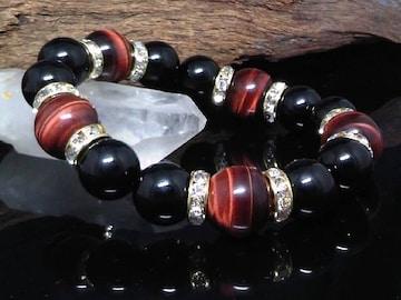 レッドタイガーアイ14ミリ§オニキス12ミリ金ロンデル数珠