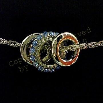☆Triple rhinestone necklace, Blue.
