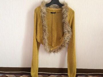 美品イエロー黄色ファーニットカーディガンボレロアンサンブル