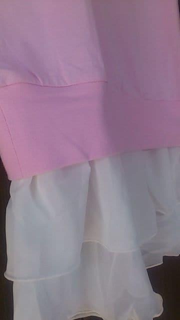 新品!TMサイズ!シフォンフリル付き七分丈袖チュニック < 女性ファッションの