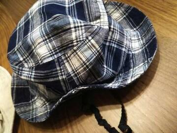 48★コムサイズム ゴム紐付きキャップ ハット 帽子チェック柄