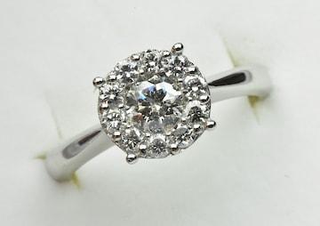 鑑別 Pt900 合計 0.59ct ダイヤモンドリング 10号 指輪