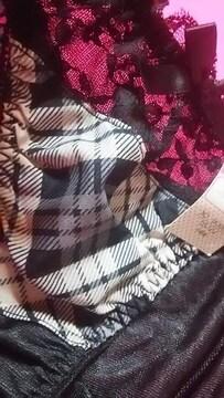 新品 超激カワフロントブラックスケレース+チェック柄sexyパンティ(///ω///)♪M