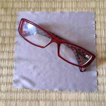 赤黒ブロックチェック柄スクエア型フレームPCメガネ