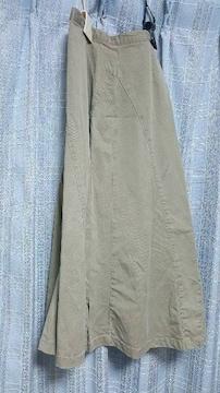カーキ色のフレアスカート★61cm ★柔らジーンズ生地