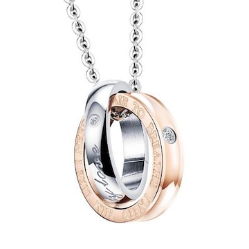 14Kピンクゴールド鍍金 CZダイヤダブルリングネックレス