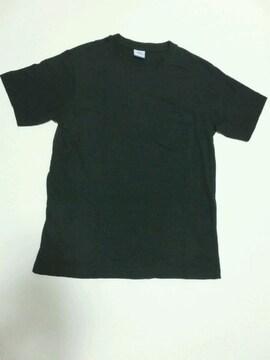 無地 胸ポケット 半袖Tシャツ 黒