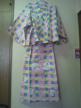 帯をして浴衣になるキャミワンピ/ピンク系トンボ柄