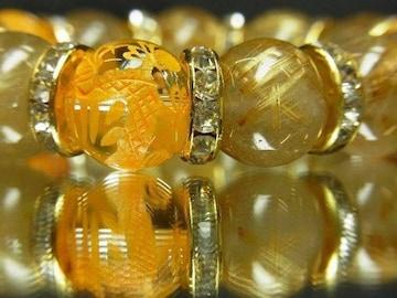 夢を叶えたい方、必見!!黄金龍水晶×タイチンルチル数珠ブレスレット
