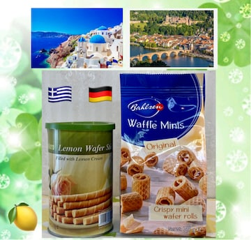 ドイツ産ワッフル&ギリシャ産レモンウエハースティック各1箱